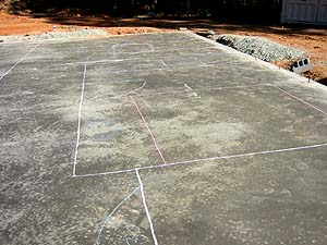 Chalk outline of floor plan